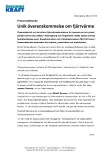 Unik överenskommelse om fjärrvärmepriset