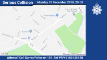 Did you see a New Year's eve collision between a moped and a MPV in Epsom?