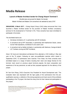 Launch of Master Architect tender for Changi Airport Terminal 5