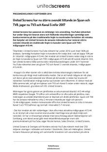 United Screens har nu större svenskt tittande än Sjuan och TV8, jagar nu TV3 och Kanal 5 under 2017.pdf