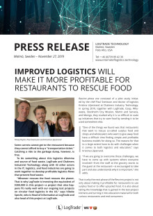 IMPROVED LOGISTICS WILL MAKE IT MORE PROFITABLE FOR RESTAURANTS TO RESCUE FOOD