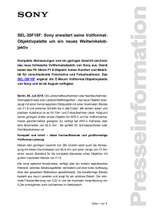 SEL-35F18F: Sony erweitert seine Vollformat-Objektivpalette um ein neues Weitwinkelobjektiv
