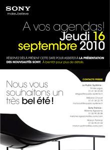 A vos agendas - Journée presse SONY 16 septembre 2010