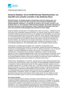 Deutsche Glasfaser: Durch 25.000 Kilometer Netzinfrastruktur von GasLINE noch schneller und tiefer in den ländlichen Raum