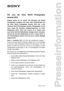 Die Jury der Sony World Photography Awards 2015