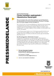 Första hushållen uppkopplade i Hässleholms fiberprojekt