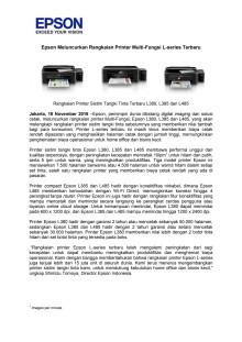 Epson Meluncurkan Rangkaian Printer Multi-Fungsi L-series Terbaru