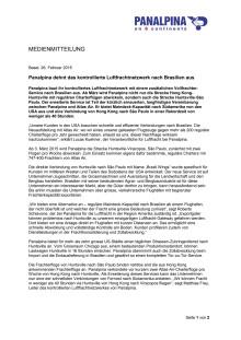 Panalpina dehnt das kontrollierte Luftfrachtnetzwerk nach Brasilien aus