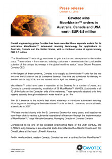 Cavotec wins MoorMaster™ orders in Australia, Canada and USA worth EUR 6.5 million