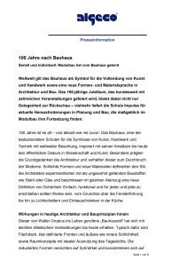 100 Jahre nach Bauhaus