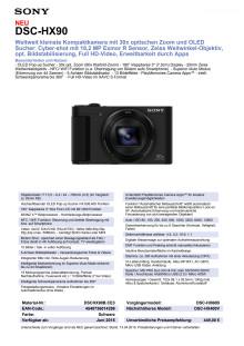 Datenblatt DSC-HX90 von Sony