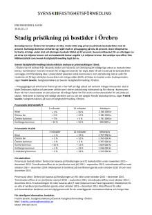 Stadig prisökning på bostäder i Örebro