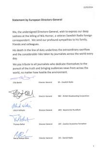 Europeiska public service-bolag hedrar journalisten Nils Horner