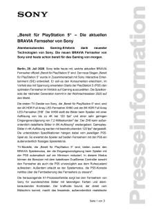 """""""Bereit für PlayStation 5"""" – Die aktuellen BRAVIA Fernseher von Sony"""