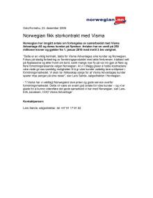 Norwegian fikk storkontrakt med Visma