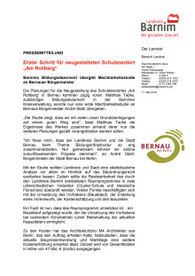 """Erster Schritt für neugestalteten Schulstandort """"Am Rollberg"""""""
