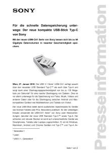 Für die schnelle Datenspeicherung unterwegs: Der neue kompakte USB-Stick Typ-C von Sony