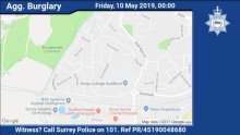 Appeal for information following aggravated burglary in Park Barn, Guildford