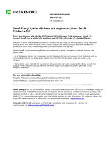 Umeå Energi bjuder alla barn och ungdomar på entrén till Friidrotts-SM