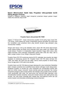 Epson Meluncurkan Salah Satu Proyektor Ultra-portabel 3LCD Paling Ringan di Dunia