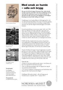Pressmaterial: Med smak av humle - odla och brygg, Nordiska museet.