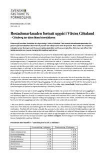 Bostadsmarknaden fortsatt uppåt i Västra Götaland – Göteborg tar täten bland storstäderna