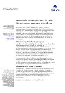 Medienpreis für Interne Kommunikation für Zurich: Mitarbeitermagazin :doppelpunkt gewinnt Bronze