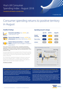 Consumer spending returns to positive territory in August