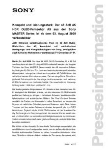 Kompakt und leistungsstark: Der 48 Zoll 4K HDR OLED-Fernseher A9 aus der Sony MASTER Series ist ab dem 03. August 2020 vorbestellbar