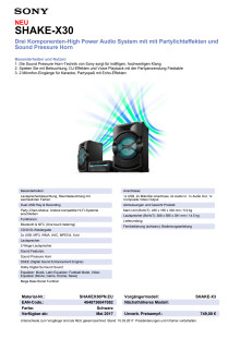 Datenblatt Audio-System SHAKE-X30 von Sony