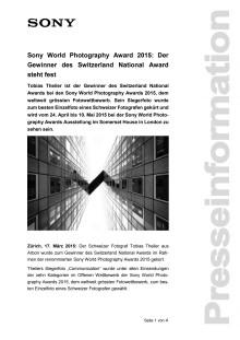 Sony World Photography Award 2015: Der  Gewinner des Switzerland National Award steht fest
