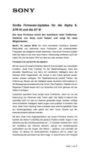 Große Firmware-Updates für die Alpha 9,  A7R III und die A7 III
