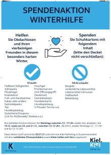 Plakat zur Winterhilfe für Obdachlose in Kiel