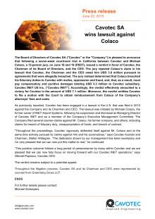 Cavotec SA wins lawsuit against Colaco