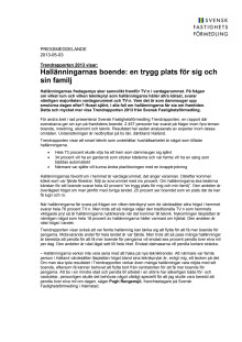 Trendrapporten 2013 visar: Hallänningarnas boende: en trygg plats för sig och sin familj