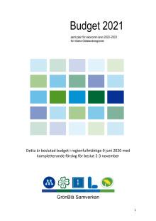 Budget 2021, inklusive komplettering för beslut i regionfullmäktige i november
