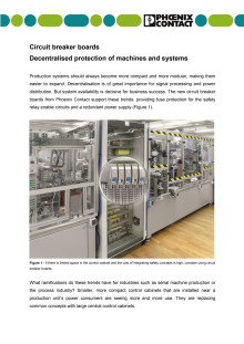 Circuit breaker boards- Decentralised protection of machines and systems