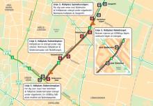 Karta över Nobelvägen och tillfälliga hållplatser på linje 3 under ombyggnaden.
