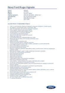 Specifikace vozu Ford Kuga Vignale