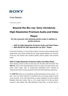 Blu-ray til et nytt nivå:Sony introduserer High-Resolution Premium Audio og videospiller