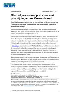 Nils Holgersson-rapport visar små prishöjningar hos Öresundskraft