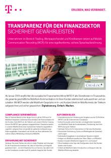 Der Mobile Communication Recording-Produktflyer der Deutschen Telekom