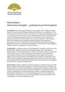 Medverkande i Alkemistens hemlighet - guldmakarna på Drottningholm