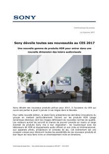 CES SONY   Sony dévoile toutes ses nouveautés au CES 2017