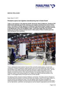 Panalpina opens new logistics manufacturing hub in Dubai South
