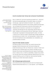 Zurich erweitert den Schutz bei schweren Krankheiten
