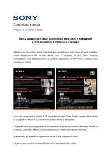 Sony organizza due workshop dedicati a fotografi professionisti a Milano e Firenze