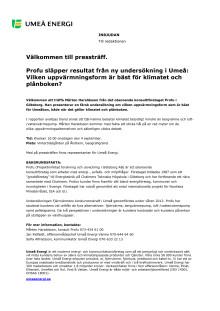 Välkommen till pressträff. Profu släpper resultat från ny undersökning i Umeå:  Vilken uppvärmningsform är bäst för klimatet och plånboken?