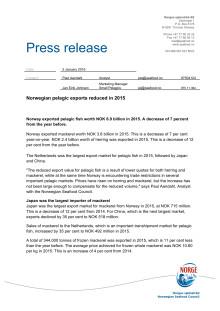 Norwegian pelagic exports reduced in 2015