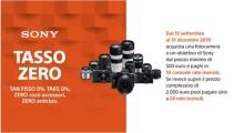 Promozione Tasso Zero su camere e ottiche  di Sony